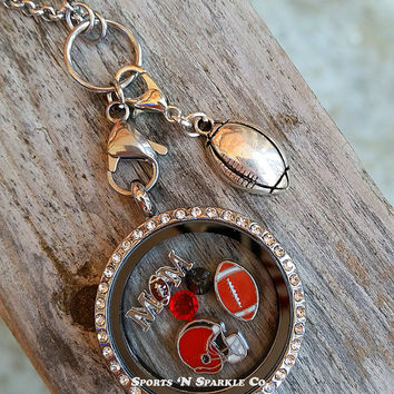 Football Mom Floating Keepsake Glass Living Locket