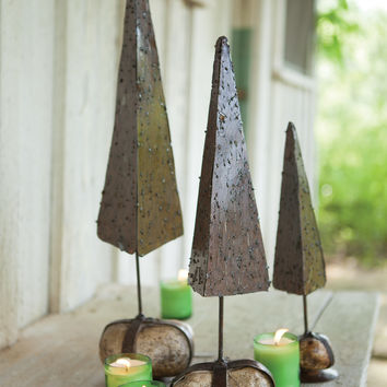 Set of 3 Rustic Topiaries with Caged Rock Base