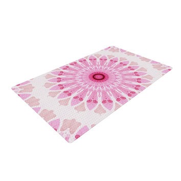 "Iris Lehnhardt ""Flower Power"" Pink Abstract Woven Area Rug"