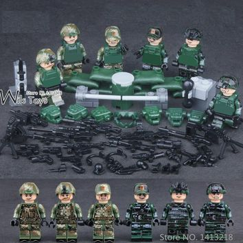 6pcs Special Forces MILITARY Army Navy Seals Team Marines SWAT Soldiers WW2 Building Blocks Figures Educational Toy Boy children