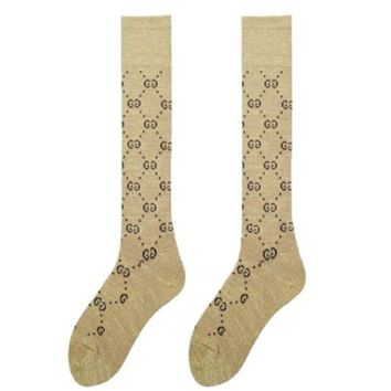 DCCKJ1A GUCCI autumn and winter tide brand female wild double knit tube leg socks Gold + coffee