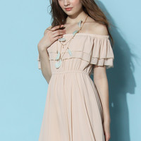 Endless Off-shoulder Frilling Dress in Nude Beige