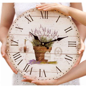 ROMANTIC WALL CLOCK Cottage chic lavender flower wall clock Home Decor wall clock vintage  wall decor for bedrooms kitchen living room
