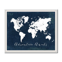 Navy Nursery Print, World Map Print, Travel Poster, Adventure Awaits, Travel Quote Print, Wanderlust, Nautical, Nursery Travel Print