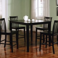 5 pc Ashland collection black finish wood counter height dining table set with wood seats