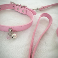Pink Leash & Collar Kitten Play Bell Day Wear BDSM Collar Faux Leather