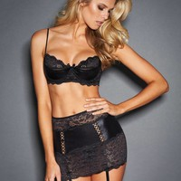 Rhiannon Bra and Garter Slip Set