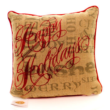 Christmas Christmas Burlap Pillow Accent Pillow