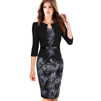 One-Piece Elegant Floral Office Bodycon