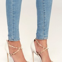 Trixyn White and Nude Studded Ankle Strap Heels
