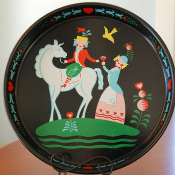 Mid-Century Tole Painted Tray, Decorative Tray Folk Art Black Red Yellow Blue Masonware Metal Cocktail Tray Peter Hunt Style Valentines Day