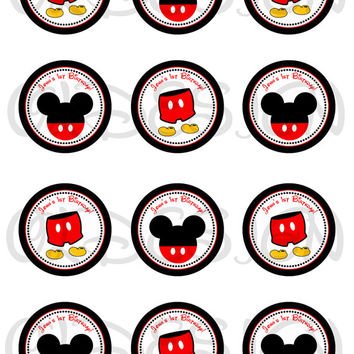 Mickey Mouse Stickers, Cupcake Topper, Tags, great for birthday partys. 2 Inch Circles. Digital file