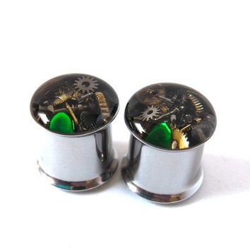 Clockwork Steampunk Vintage Watch Parts Ear Plugs / Tunnels  - Gears In Your Ears. 11mm / 7/16 gauge. Pair.