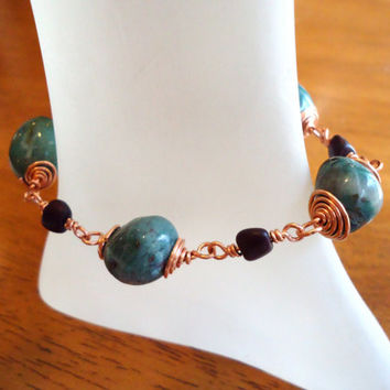 African Turquoise Copper Wire Wrapped Bracelet