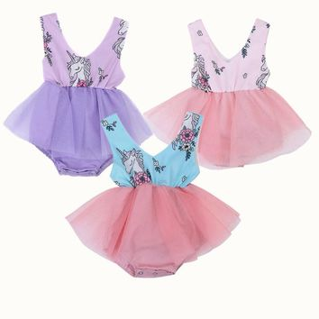Cute Toddler Baby Girl Cartoon Horse Print Lace Tulle Tutu Romper Kids Fancy Princess Wedding Sleeveless Summer Rompers Clothes