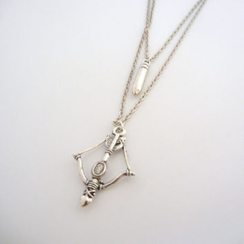 The Walking Dead Inspired- Daryl Dixon Bow/ arrow and bullet layed charm necklace