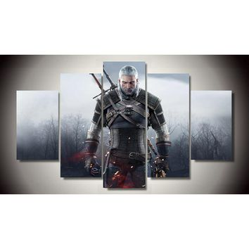 5 Pieces/set Printed witcher 3 wild hunt canvas painting room decoration print poster picture printed painting frameless