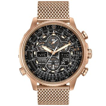 Men's Citizen Eco-Drive Navihawk A-T Rose Gold-Tone Black Dial Watch