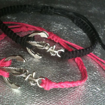 Anchor Bracelets His and Hers Matching Anchor Bracelets Couples Bracelets Bronze Or Silver You Choose Color Finish And Cord