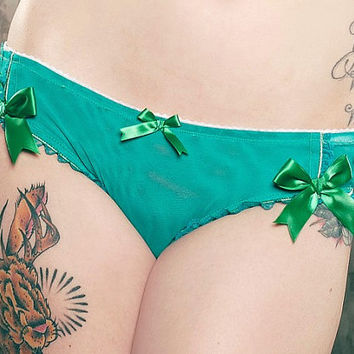 Jade and Cream Roses Ruffle-Bum Bikini Panty - Pick Your Size - Handmade Vegan Bridal