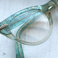 Extra Small Vintage 1950s Powder Blue and Translucent with Silver Glitter Fleck Cat Eye Frames // Pin Up Rockabilly