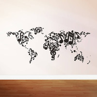 Wall Decal Vinyl Sticker Decals Art Decor Design Map World Music Notes Song Play Sound Musician Bedroom Living Room Classroom (r276)