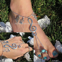 Music Jewelry Fairy Festival Jewelry SET OF 3, Body Jewelry, Barefoot Sandals, Barefoot Movement, Hippie Bracelet, Hippie Anklet, SILVER