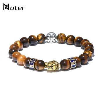 Noter Handmade Buddha Bracelet Antique Ethnic Tiger Eyes Natural Stone Yoga Meditation Braclet For Men Hand Jewelry Accessories