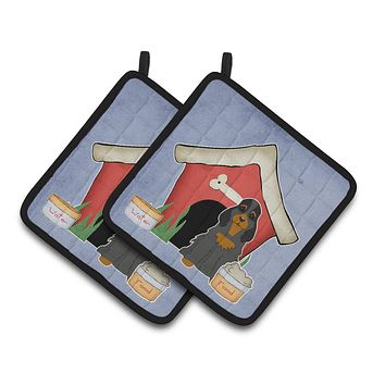 Dog House Collection Cocker Spaniel Black Tan Pair of Pot Holders