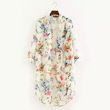 Chiffon Flowers Floral Cardigan Beach Cover up