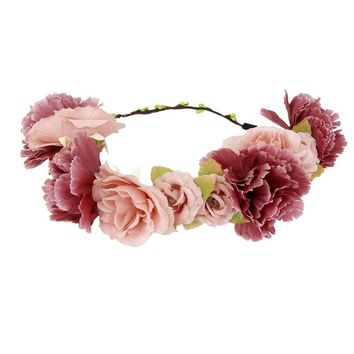 Flower Wreath headband Floral Garland Crown Hair Accessories with Ribbon for Wedding Featival Party Light Cafe