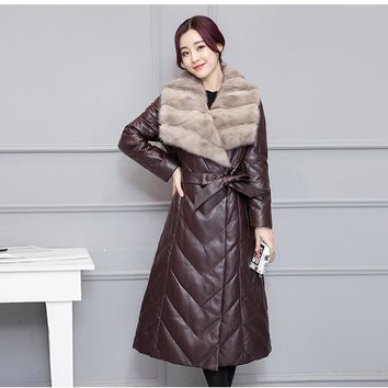 Fashion Winter Faux Sheepskin Leather Coat Women Slim Long Sleeve Parkas Outerwear Long Faux Mink Fur Collar Coats Plus Size 4XL