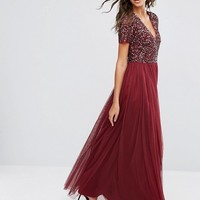 Maya Tall V Neck Maxi Tulle Dress With Tonal Delicate Sequins at asos.com