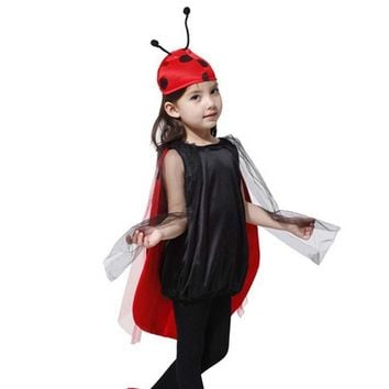 2017 NEW Kids Girls Red Ladybug Cosplay Costume Ladybird Cloak Antenna Hat Clothing Set Halloween Birthday Party Supplies
