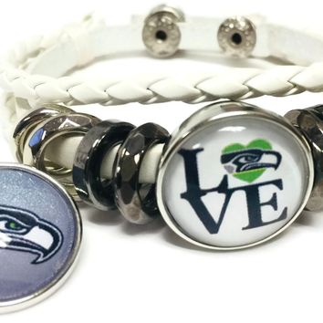 NFL Football Fan Seattle Seahawks On White Leather Bracelet W/ Logo and Love 18MM - 20MM Snap Charms