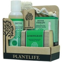 Detox Spa @ Home Gift Set with 4 oz Detox Massage Oil. 3 oz Detox Bath Salt and 4 oz Bar of Lemongrass Aromatherapy Soap