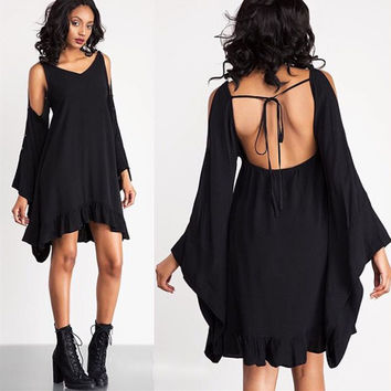 Fashion  Backless V-Neck Strapless Bat Sleeve Solid Color Irregular Mini Dress