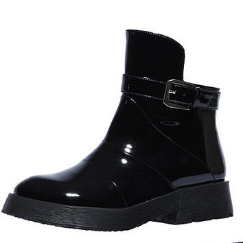 Women Autumn Winter Wedges Chunky Heel Genuine Leather Round Toe Buckle Side Zipper Fashion Martin Boots Size 34-39 SXQ0728