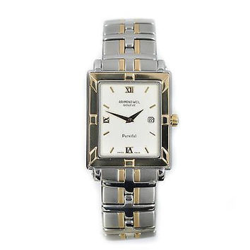 RAYMOND WEIL PARSIFAL 9330 TWO TONE STAINLESS STEEL WHITE DIAL QUARTZ MENS WATCH