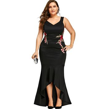 CharMma Embroidery Roses Mermaid Plus Size 5XL Dress Maxi Sexy Black Tank V Neck Long Elegant Party Female Dress Evening Wear