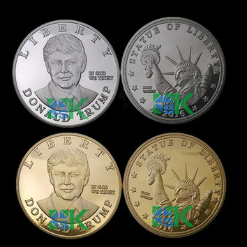 5pcs/lot 2016 US Republican Presidential New York Candidate Trump Gold /Silver plated Metal Craft Souvenir Coin
