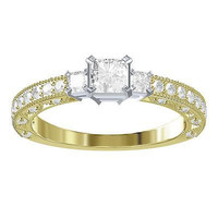 Solitaire Princess CZ Stud sterling silver wedding Ring For Her with free ship