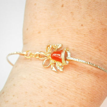 Christmas Bell Bracelet - Bangle Bracelets - Holiday Jewelry - Red Jingle Bells - Winter Weddings - Bridesmaid Gifts - Gift for Her