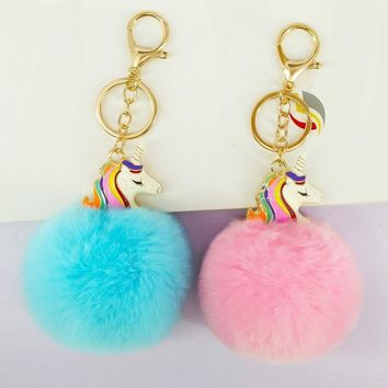 Cute  Unicorn Key Chains Handmade Pompon Balls Keyrings Bags Pendant Decoration Jewelry Ornament New Year Gift for FriendKawaii Pokemon go  AT_89_9