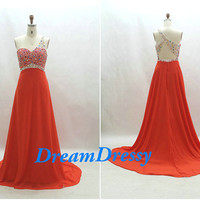 Sexy orange chiffon prom /party /evening dress, beading backless one-shoulder dress, long prom dress, cheap handmade dress   8101