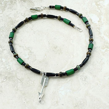 Mens Beaded Necklace - Silver Arrow Pendant - Black and Green Jewelry - Gift for Dad - Mens Arrow Jewelry