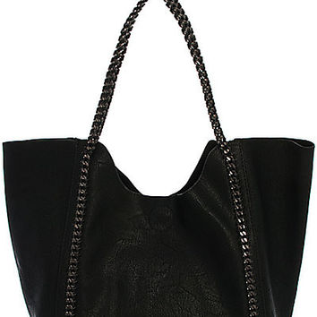 Street Level Chain Vegan Leather Handbag