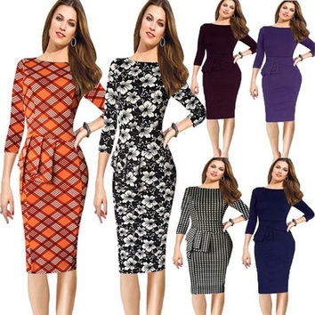 Women Spring Elegant Cotton Tunic Frill Stretch Office Shift Pencil Sheath Dress