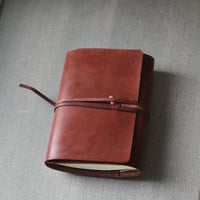 Dark Brown handmade refillable leather journal notebook/ Book Cover A6