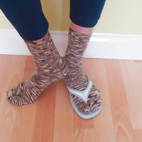 Women Split Toe Socks, Tabi Socks, Flip Flops Socks, Sandals Socks, Handknitted Socks in Beige and Brown, Japanese Socks